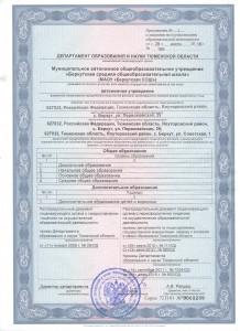 Приложение к лицензии № 1